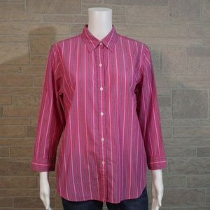 Chaps Pink Black Stripe Button Up Blouse Shirt